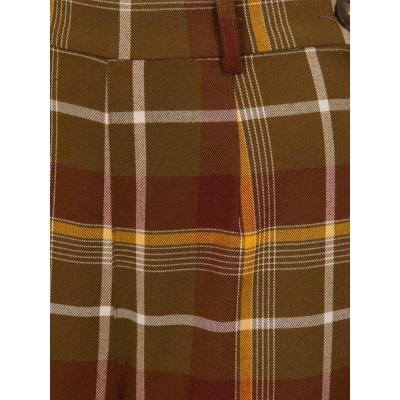 Foto van Collectif | Broek Baylee Mosshill bruine tartan met hoge taille
