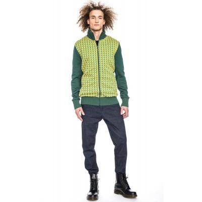 Vest Toni, fris geel groen jaquard patroon