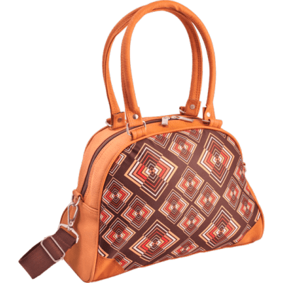 Foto van Handtas bowlingbag model, Rhombus brown
