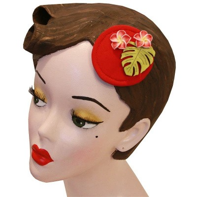 Foto van Miranda's Choice - Haarclip minihoed Aloha met bloem donkerrrood