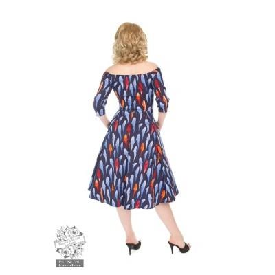 Foto van Jurk Ruby, 50's swingmodel, donkerblauw met visjesprint
