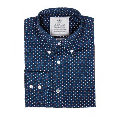 Foto van Overhemd met lange mouw, gekleurde diamantprint, navy