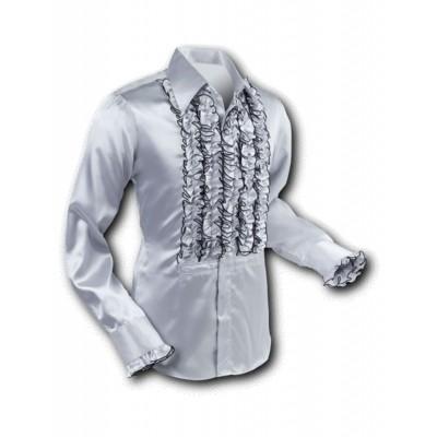 Overhemd Ruche Satin Silver