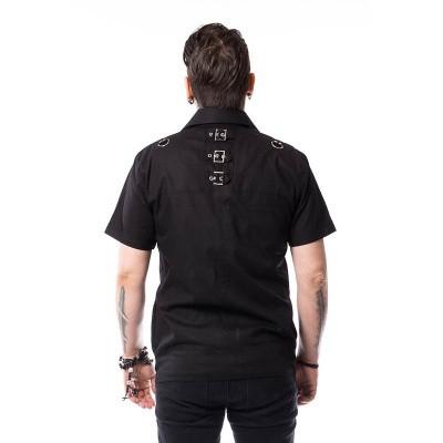 Foto van Overhemd Henrik, zwart met gespen en zakken