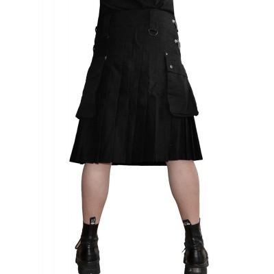 Foto van Kilt met drukknopen, D-ringen en zakken, zwart