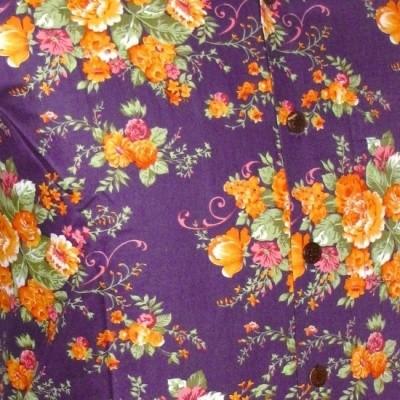 Foto van Overhemd korte mouw, flowers violet orange