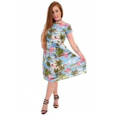 Foto van Jurk 50s hawaiian flamingo tea dress