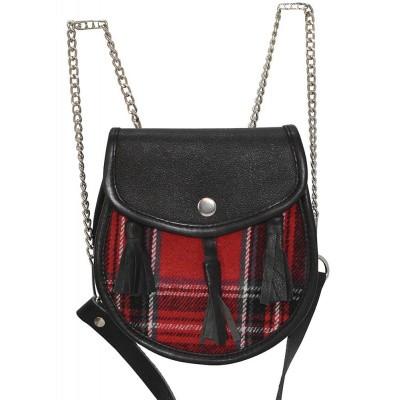 Foto van Leren kilt tas, met rood tartan motief