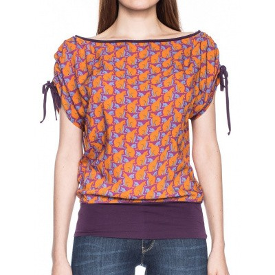 Foto van Shirt Mona, oranje lila retro katten print
