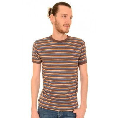 Foto van T-shirt, retro bruin blauw gestreept