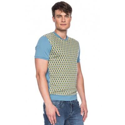 Foto van Ato Berlin, T-shirt Birk met blauw en geel grafisch retro patroon, biokatoen
