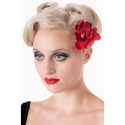 Haarclip en broche Blossom rood