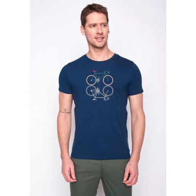 Foto van Green Bomb | T-shirt bike shape, bio katoen navy