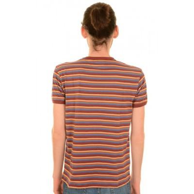 Foto van T-shirt, retro bordeaux blauw gestreept