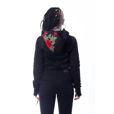 Foto van Kort jasje met capuchon Rea, rozen borduursel en spikes
