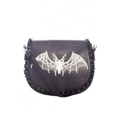 Foto van Banned | schoudertas Dragon Nymph, zwart met vleermuis opdruk
