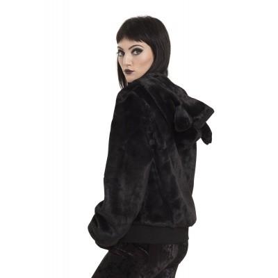 Foto van Jas make me purr zwart, met katten oortjes