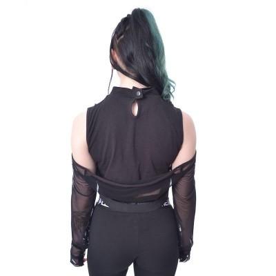 Foto van Croptop Rowena, met afritsbare mesh mouwen, zwart