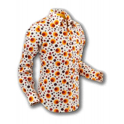 Chenaski | overhemd Seventies Dots and Spots Orange