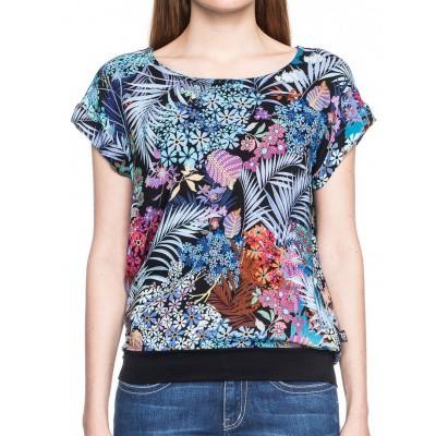 Foto van Shirt Leo, zwart turquoise met tropische bloemenprint