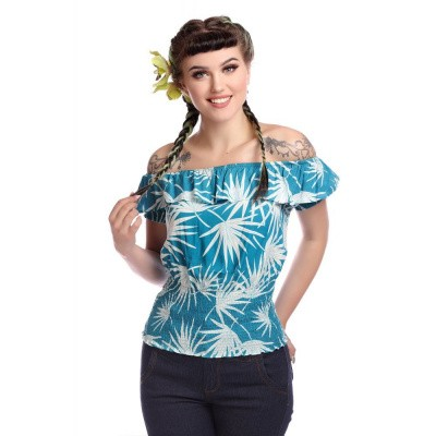 Top Bebe Palm Print, blauw