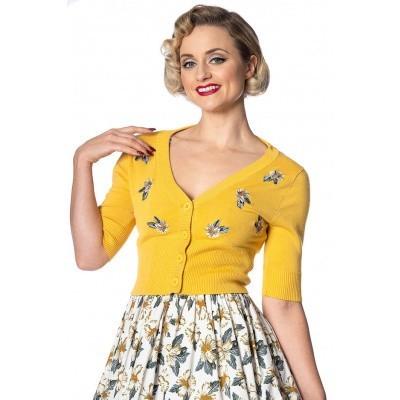 Cardigan Tiki Floral, geel