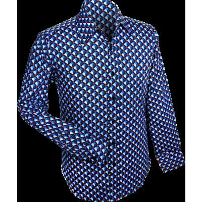 Foto van Overhemd retro, 3d grid blue