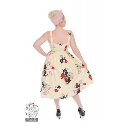 Foto van Jurk yellow rose print swing dress