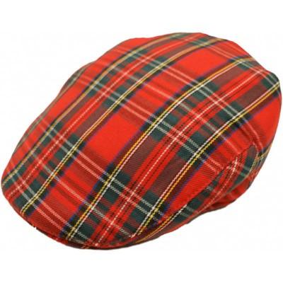 Foto van Platte pet, rode schotse tartan, flat cap