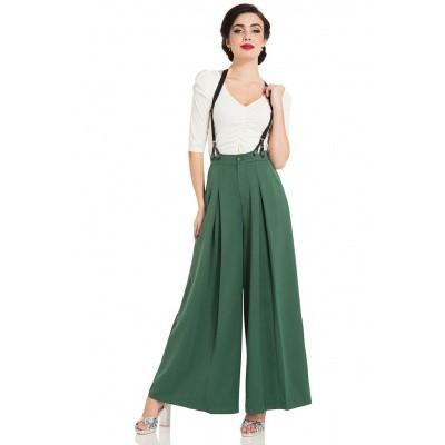 Foto van Broek Laura Green, 40s model met hoge taille, groen