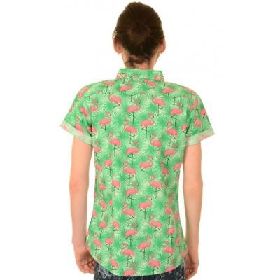 Foto van Overhemd korte mouw, tropical flamingo
