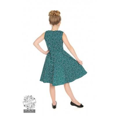 Foto van Kinderjurk La Rosa, turquoise met snowflakes polkadots