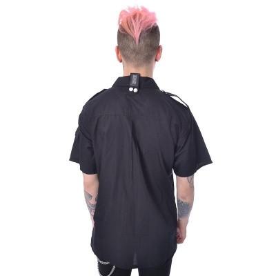 Foto van Overhemd Drake, metaalkleurige details, zwart