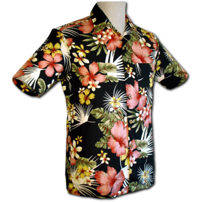 Foto van Overhemd korte mouw Jungle Flowers zwart