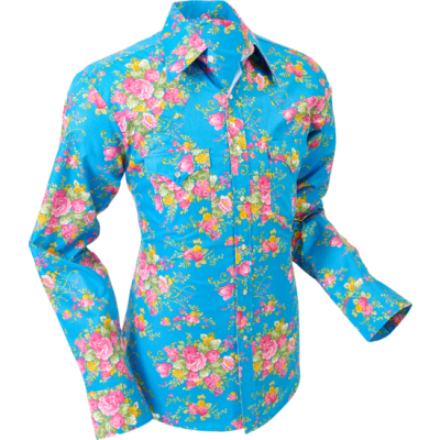 Overhemd cowboy, Roses light blue