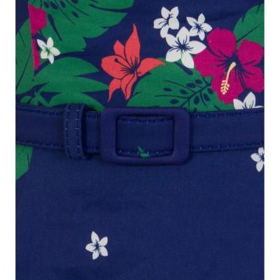 Foto van Jurk Beth Tahiti, swingmodel, blauw met 70's bloemen