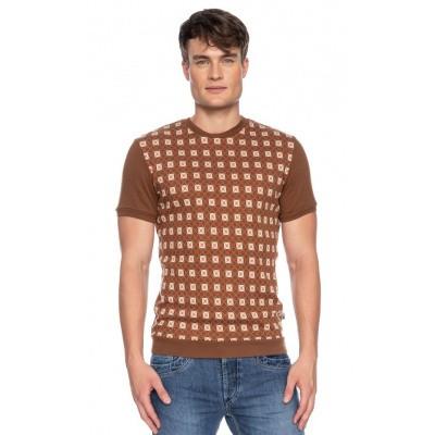 Ato Berlin, T-shirt Birk met bruin en beige retro patroon, biokatoen