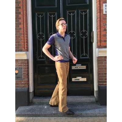 Foto van Ribcord broek Newton, met uitlopende pijp, beige