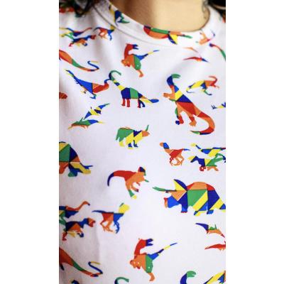 Foto van Run & Fly | T-shirt wit met regenboog dinos
