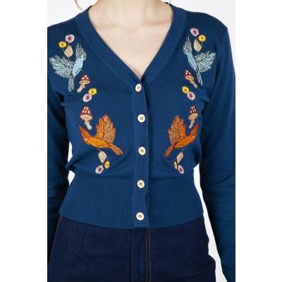 Foto van Cardigan Ginny Woodland, met herfst embroidery, blauw
