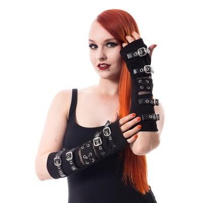Foto van Armwarmers, zwart met visnet met zilveren gespen