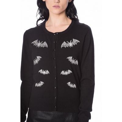 Foto van Banned, cardigan Lace Bats, zwart met vleermuizen