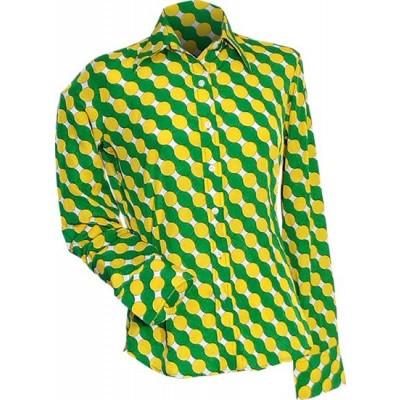 Foto van Overhemd retro, Circles, satijn, geel groen