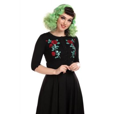 Foto van Cardigan Lucy, Dark Rose, zwart met rozen emroidery