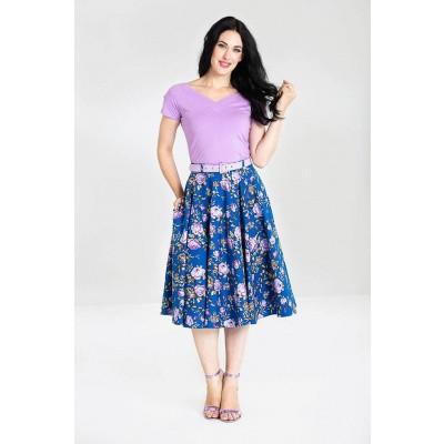Foto van Rok Violetta 50's, blauw met paarse bloemen