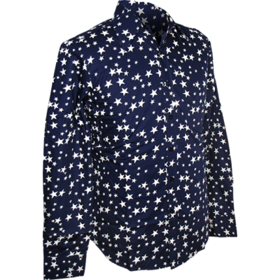 Foto van Overhemd Retro, stars navy blauw