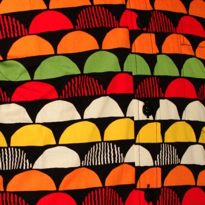 Foto van Chenaski - overhemd seventies, Sunset zwart en oranje