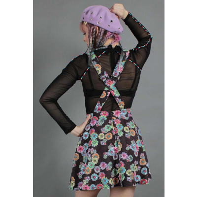 Foto van Jawbreaker | Pinafore jurk Poison Ivy met felgekleurde bloemen
