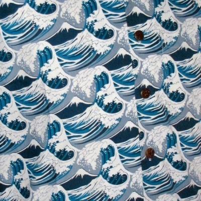 Foto van Overhemd korte mouw Japanese Waves blauw