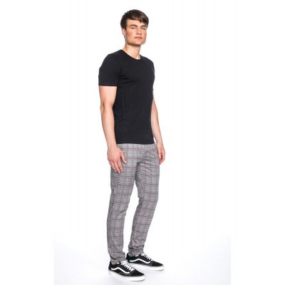 Foto van Pantalon Dino, grijs met licht rood geruit slim fit